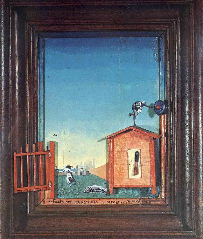 Two Children are Threatened by a Nightingale, 1924 - by Max Ernst